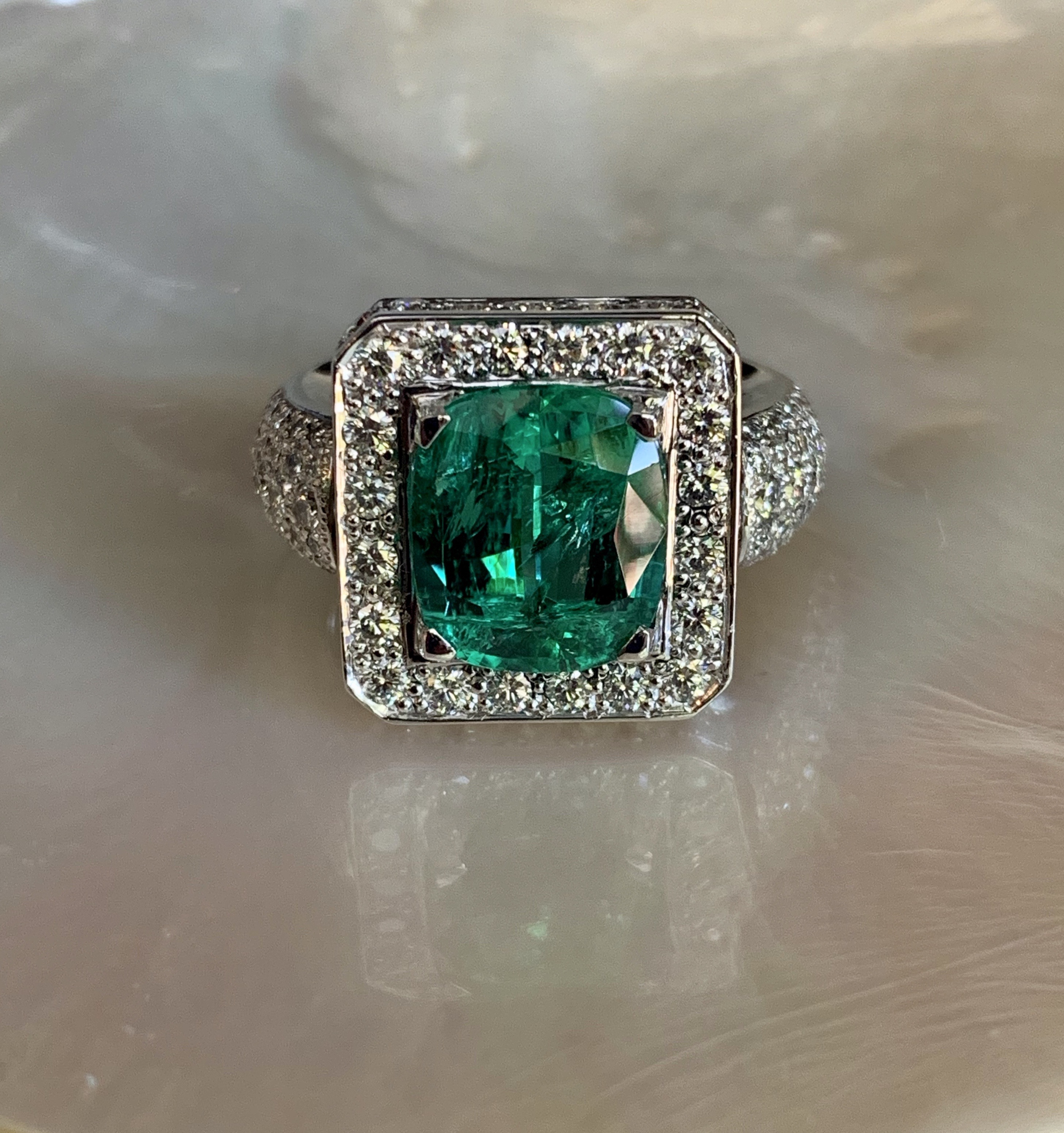 5.05ct Natural West Australian Emerald and Russian cut diamonds ring set in 18ct white gold in store now .jpg
